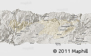 Shaded Relief Panoramic Map of Zhaotong, semi-desaturated