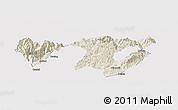 Shaded Relief Panoramic Map of Zhaotong, single color outside