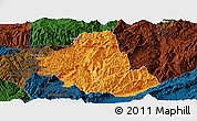 Political Panoramic Map of Zhenkang, darken