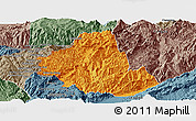 Political Panoramic Map of Zhenkang, semi-desaturated