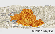 Political Panoramic Map of Zhenkang, shaded relief outside