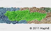 Political Panoramic Map of Zhenxiong, semi-desaturated