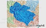 Political Panoramic Map of Zhongdian, lighten