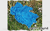 Political Panoramic Map of Zhongdian, satellite outside