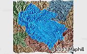 Political Panoramic Map of Zhongdian, semi-desaturated