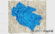 Political Panoramic Map of Zhongdian, shaded relief outside
