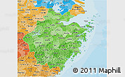Political Shades 3D Map of Zhejiang