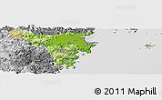 Physical Panoramic Map of Cangnan, desaturated
