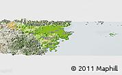 Physical Panoramic Map of Cangnan, semi-desaturated