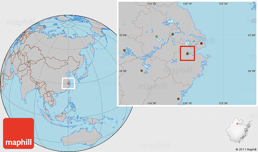 Gray Location Map of Hangzhou Shiqu
