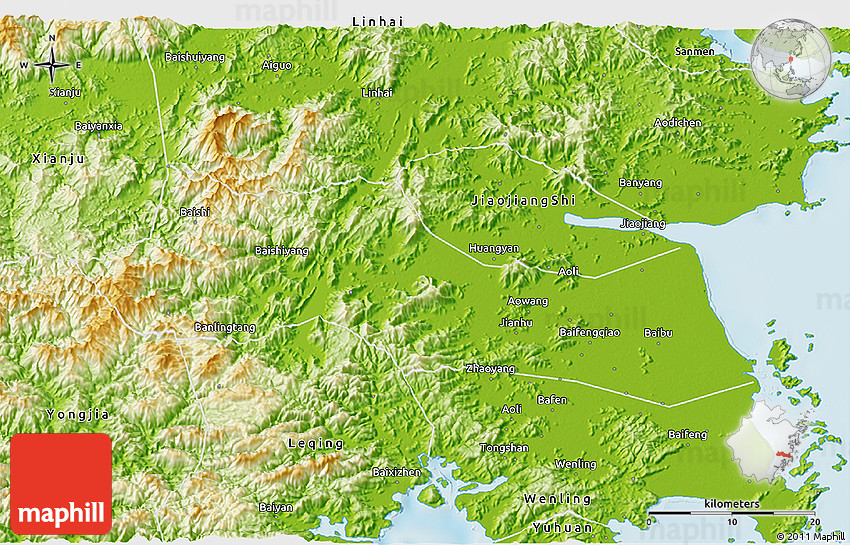 Physical D Map Of Huangyan - Huangyan map