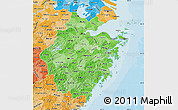 Political Shades Map of Zhejiang