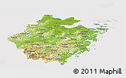 Physical Panoramic Map of Zhejiang, cropped outside