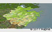 Physical Panoramic Map of Zhejiang, darken