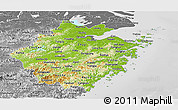 Physical Panoramic Map of Zhejiang, desaturated