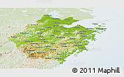 Physical Panoramic Map of Zhejiang, lighten