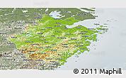 Physical Panoramic Map of Zhejiang, semi-desaturated