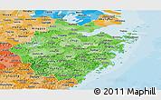Political Shades Panoramic Map of Zhejiang