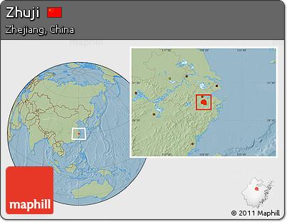 Free Savanna Style Location Map Of Zhuji Hill Shading - Zhuji map