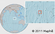 Physical Location Map of Cocos (Keeling) Islands, gray outside, hill shading