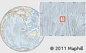 Physical Location Map of Cocos (Keeling) Islands, lighten, semi-desaturated