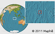 Physical Location Map of Cocos (Keeling) Islands, satellite outside