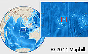 Physical Location Map of Cocos (Keeling) Islands, shaded relief outside
