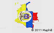 Flag 3D Map of Colombia, flag aligned to the middle