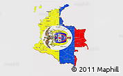 Flag 3D Map of Colombia, flag rotated