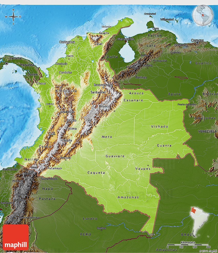 Physical 3D Map of Colombia, darken, land only