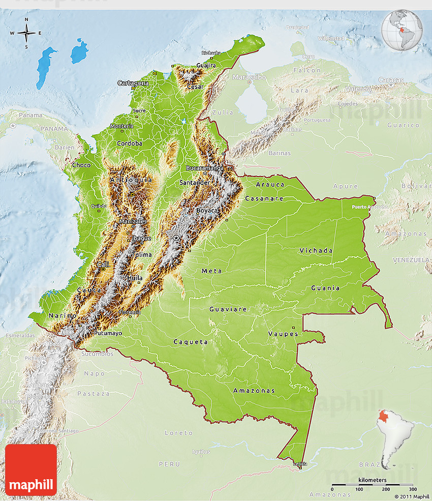 Physical D Map Of Colombia Lighten - Physical map of colombia