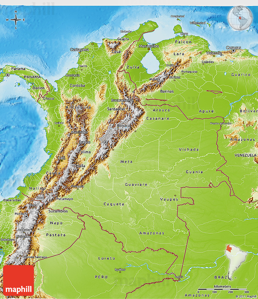 Topographic Map Of Colombia.Physical 3d Map Of Colombia