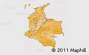 Political Shades 3D Map of Colombia, cropped outside