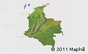 Satellite 3D Map of Colombia, cropped outside