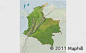 Satellite 3D Map of Colombia, lighten