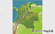 Satellite 3D Map of Colombia, physical outside, satellite sea