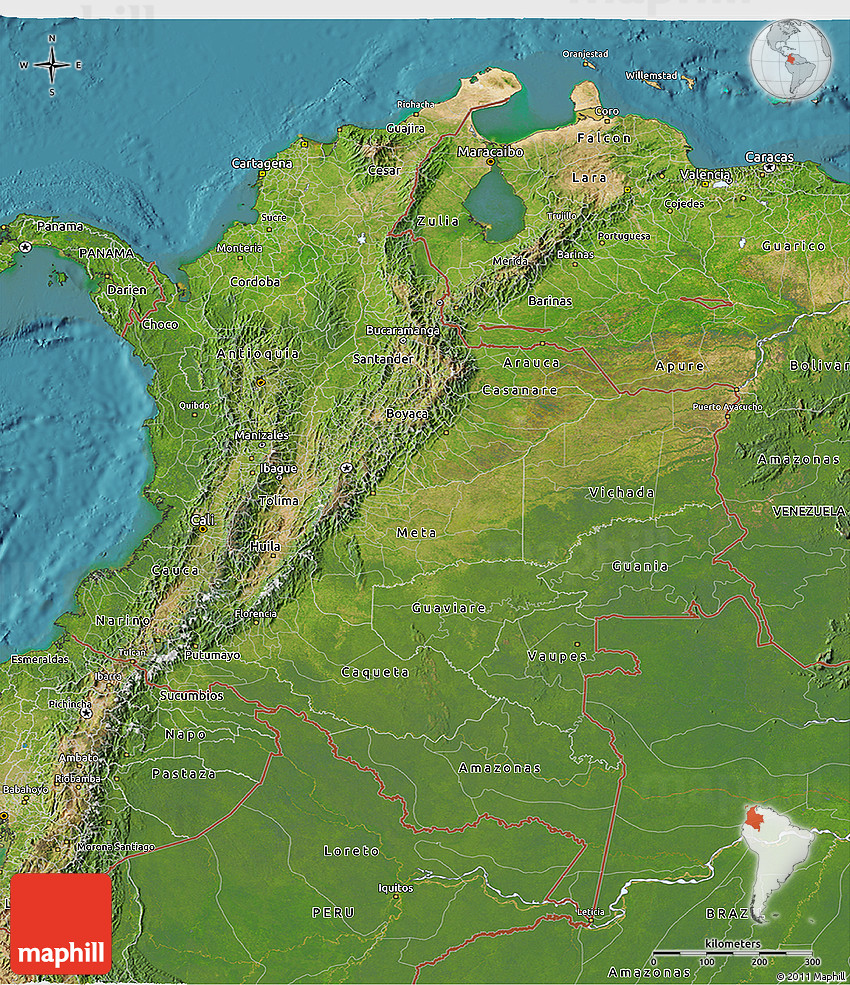 satellite 3d map of colombia
