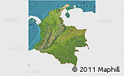 Satellite 3D Map of Colombia, single color outside