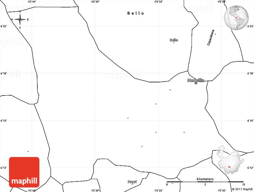 Blank Simple Map of Medellin