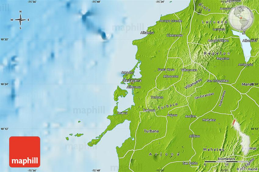 Physical Map of Cartagena (Dist. Esp.) on quito map, medellín, santa marta, london map, gran colombia, alcoy map, montevideo map, san juan, el puerto de santa maria map, colombia map, lima map, havana map, santiago map, bogota map, sierra nevada de santa marta map, santiago de cali, la paz, medellin map, panama city map, cerro de pasco map, barbados map, san salvador, buenos aires map, monterrey map, bridgetown map, guayaquil map, guatemala city, el dorado international airport map,