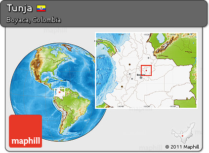 Free Physical Location Map Of Tunja Highlighted Country - Tunja map