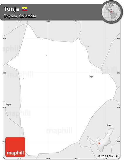 Free Silver Style Simple Map Of Tunja - Tunja map