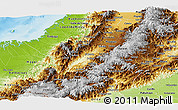 Physical Panoramic Map of Cauca