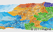 Political Shades Panoramic Map of Cauca