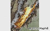Physical Map of Huila, darken, semi-desaturated