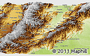 Physical Panoramic Map of Huila