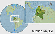 Satellite Location Map of Colombia, savanna style outside, hill shading