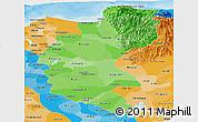 Political Shades Panoramic Map of Magdalena