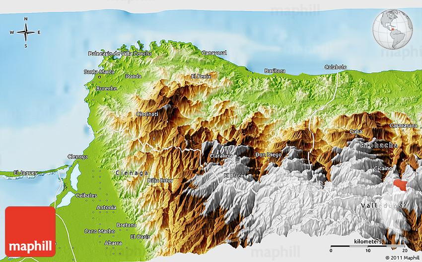Physical 3D Map of Santa Marta Dist Esp