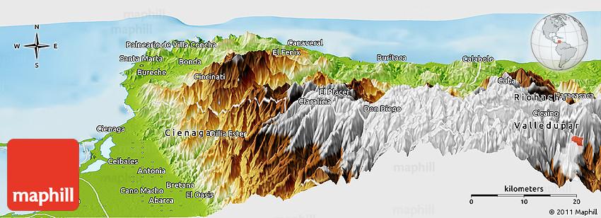 Physical Panoramic Map of Santa Marta Dist Esp